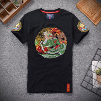 T-shirt Youth fashion routine S M L XL 3XL XXL Fan Wei Short sleeve Crew neck Self cultivation daily summer Cotton 95% polyurethane elastic fiber (spandex) 5% youth routine Chinese style Knitted fabric Spring of 2018 Ethnic style Embroidery Cotton ammonia Chinese culture washing Fashion brand