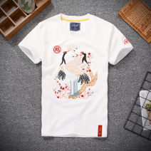 T-shirt Youth fashion Fw1903 crane short sleeve [white] fw1903 crane short sleeve [black] routine S M L XL 3XL XXL Fan Wei Short sleeve Crew neck Self cultivation daily spring FW1903 Cotton 95% polyurethane elastic fiber (spandex) 5% youth routine Chinese style other Spring of 2019 Animal design