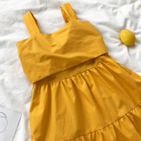 Dress Summer of 2018 Black, white, yellow Average size Short skirt singleton  Sleeveless commute Loose waist Solid color Socket A-line skirt camisole 18-24 years old Type A Korean version Bow tie