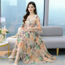 Dress Spring 2021 Pink yellow M L XL 2XL 3XL 4XL longuette singleton  elbow sleeve Sweet V-neck middle-waisted Decor zipper Big swing pagoda sleeve 18-24 years old Baimurifi Zipper printing BMA9090-90# More than 95% Chiffon other Other 100% Bohemia Pure e-commerce (online only)