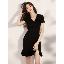 Dress / evening wear Weddings, adulthood parties, company annual meetings, daily appointments XS S M L XL XXL customized and non refundable Korean version Short skirt High waist Summer 2020 fish tail Deep collar V zipper 18-25 years old Short sleeve Embroidery Solid color Sophilian routine Other 100%