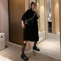 Dress Summer 2021 S,M,L Mid length dress singleton  Short sleeve street Polo collar Loose waist Solid color Three buttons A-line skirt routine Others 18-24 years old Type A Chen Dingding other cotton