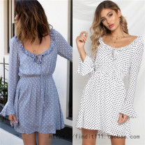 Dress Autumn of 2018 White, light blue S,M,L Short skirt singleton  Long sleeves Sweet Crew neck High waist Dot other other pagoda sleeve Others Ruffles, lace up, print 71% (inclusive) - 80% (inclusive) other Bohemia