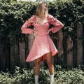 Dress Autumn of 2018 Pink S,M,L Short skirt singleton  Long sleeves street V-neck High waist Dot zipper Ruffle Skirt bishop sleeve Oblique shoulder Ruffles, lace up, stitching OMLJ8813 71% (inclusive) - 80% (inclusive) cotton Europe and America