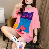 T-shirt Pink white gray M L XL Summer 2021 Short sleeve Crew neck easy Medium length routine commute polyester fiber 51% (inclusive) - 70% (inclusive) 18-24 years old Korean version originality letter Love of butterfly junj2959 Stitching embroidery Pure e-commerce (online only)