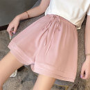 Casual pants Pink Black M L XL 2XL Summer 2020 shorts Wide leg pants High waist commute Thin money 18-24 years old 96% and above junj1607 Love of butterfly Korean version Polyester 100% Pure e-commerce (online only)