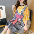Dress Summer 2020 Picture color Average size Mid length dress singleton  Short sleeve commute Crew neck middle-waisted Cartoon animation Socket Princess Dress routine 18-24 years old Love of butterfly Korean version printing junj1686 81% (inclusive) - 90% (inclusive) polyester fiber