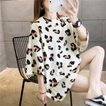 T-shirt Apricot yellow pink M L XL 2XL Spring 2020 elbow sleeve Crew neck easy Medium length routine commute cotton 96% and above 18-24 years old Korean version originality Leopard Print Love of butterfly junj645 printing Cotton 100% Pure e-commerce (online only)