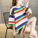 T-shirt White yellow M L XL 2XL Spring 2020 elbow sleeve Crew neck easy Medium length routine commute cotton 86% (inclusive) -95% (inclusive) 18-24 years old Korean version originality Thick horizontal stripe Love of butterfly junj578 Cotton 95% polyurethane elastic fiber (spandex) 5%