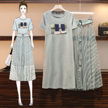 Women's large Summer 2020 Other oversize styles Two piece set commute easy moderate Socket Short sleeve Korean version Crew neck Medium length Three dimensional cutting Bat sleeve AITI 25-29 years old Gauze Medium length Other 100% Pure e-commerce (online only) Princess Dress