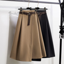 Women's large Spring 2021 Khaki black skirt singleton  commute easy moderate Korean version Three dimensional cutting AITI 25-29 years old belt Medium length Other 100% Pure e-commerce (online only) other