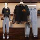 Women's large Spring 2021 Black sweater + jeans single black sweater single jeans Other oversize styles Two piece set commute easy moderate Socket Long sleeves Korean version Polo collar routine Three dimensional cutting shirt sleeve AITI 25-29 years old pocket Other 100% trousers