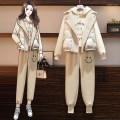 Women's large Winter 2020 Black three piece set apricot three piece set Other oversize styles Three piece set commute easy thickening Cardigan Long sleeves Korean version Hood routine Three dimensional cutting routine AITI 25-29 years old pocket Other 100% Pure e-commerce (online only) trousers