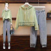 Women's large Spring 2021 Single sweater @ single jeans single sweater single jeans Other oversize styles Two piece set commute easy moderate Socket Long sleeves Korean version Hood routine Three dimensional cutting routine AITI 25-29 years old Button Other 100% Pure e-commerce (online only) trousers