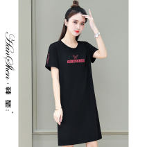 Dress Summer 2021 Red bean paste, red and black M L XL 2XL 3XL longuette singleton  Short sleeve commute Crew neck Loose waist letter Socket A-line skirt routine 25-29 years old Type A Han Xin Korean version printing 686-73-JVM HG 31% (inclusive) - 50% (inclusive) nylon Pure e-commerce (online only)