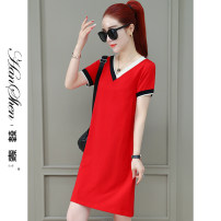 Dress Summer 2021 Red bean paste black green M L XL 2XL 3XL Mid length dress singleton  Short sleeve commute V-neck Loose waist Solid color Socket One pace skirt routine 25-29 years old Type H Han Xin Korean version Patchwork printing 2968-70-LSXT ASFAG 91% (inclusive) - 95% (inclusive) brocade
