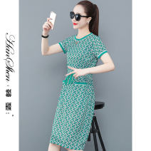 Dress Summer 2021 Rose Ruby green orange blue M L XL 2XL 3XL longuette singleton  Short sleeve commute Crew neck middle-waisted Decor Socket A-line skirt routine 25-29 years old Type A Han Xin Korean version printing 2699-85-HYLC H 81% (inclusive) - 90% (inclusive) Chiffon polyester fiber