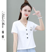 T-shirt Pink white yellow purple M L XL 2XL Summer 2021 Short sleeve V-neck easy Regular routine commute cotton 96% and above 25-29 years old Korean version originality Solid color stitching Han Xin 6696-43-YG BVCFD Print stitching Cotton 95.8% polyurethane elastic fiber (spandex) 4.2%