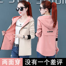short coat Autumn 2020 Long sleeves routine routine singleton  easy Versatile routine Hood zipper letter 25-29 years old Bingweili 96% and above Pocket print polyester fiber polyester fiber Polyester 100% Pure e-commerce (online only)