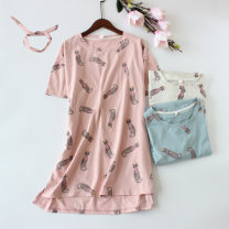 Nightdress Other / other Pink crown cat nightdress, grey crown cat nightdress, blue crown cat nightdress 160(M),165(L),170(XL) Sweet Short sleeve Leisure home Middle-skirt summer youth Crew neck cotton printing More than 95% Knitted cotton fabric