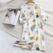 Nightdress Other / other Summer style [short sleeve nightdress], short sleeve skirt white radish, short sleeve skirt yellow radish, short sleeve skirt cake, short sleeve skirt space, short sleeve skirt house, short sleeve skirt beauty, short sleeve skirt fruit 160(M),165(L) Simplicity Short sleeve