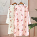Nightdress Other / other Crepe big strawberry skirt powder, crepe big strawberry skirt white L is the average size Sweet Long sleeves Middle-skirt autumn Plants and flowers youth Crew neck cotton printing pure cotton
