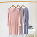 Dress Other / other Modal dress powder, modal dress grey, modal dress blue M,L,XL Long sleeves have more cash than can be accounted for spring Crew neck Solid color modal