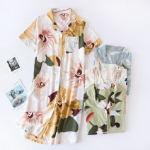 Nightdress Other / other M,L,XL Simplicity Short sleeve pajamas Middle-skirt summer Plants and flowers youth Small lapel viscose  printing pure cotton