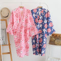 Nightgown / bathrobe Other / other female M (within 125 kg), l (within 145 kg) Pink big eye rabbit gauze kimono, blue big eye rabbit gauze kimono Thin money Sweet cotton summer Medium length (knee to Mid Calf) Woven cotton fabric