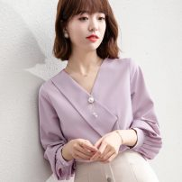 shirt White, taro purple S,M,L,XL,2XL Spring 2021 other 31% (inclusive) - 50% (inclusive) Long sleeves commute Regular V-neck Socket bishop sleeve Solid color 25-29 years old Straight cylinder Korean version Three dimensional decoration