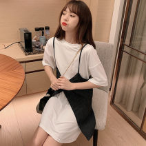 Women's large Summer 2020 White (2-piece set) grey (2-piece set) Large m large L Large XL Dress Two piece set commute easy moderate Socket Short sleeve Pure zebra Korean version Crew neck Medium length Polyester cotton Three dimensional cutting routine SQL6386546416546546498732# Shuqinglai Bandage