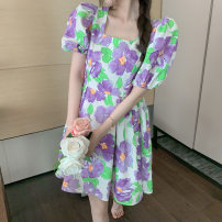 Dress Summer 2021 Picture color S M L Short skirt singleton  Short sleeve commute square neck High waist Decor Socket A-line skirt puff sleeve 18-24 years old Type A Hua Xian Korean version printing 5931# More than 95% other Other 100%