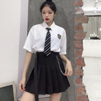 skirt Summer 2020 S M L XL Black (belt chain) white (belt chain) Short skirt Versatile High waist Pleated skirt Solid color Type A 18-24 years old MPJG14986 More than 95% Individual melody polyester fiber Polyester 100% Pure e-commerce (online only)