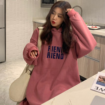 Sweater / sweater Winter 2020 Bean paste powder light gray Average size (suitable for 80-150 kg) Long sleeves have more cash than can be accounted for Socket singleton  Plush Hood easy commute routine letter 18-24 years old 81% (inclusive) - 90% (inclusive) Individual melody Korean version cl00481