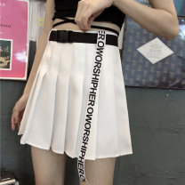 skirt Summer 2020 S M L XL Short skirt Versatile High waist Pleated skirt Solid color Type A 18-24 years old More than 95% Individual melody polyester fiber Polyester 100% Pure e-commerce (online only)