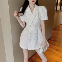 Dress Summer 2021 White black M L Short skirt singleton  Short sleeve commute tailored collar High waist Solid color double-breasted A-line skirt routine Others 18-24 years old Wallis Retro MvXw48076 More than 95% other Other 100% Pure e-commerce (online only)
