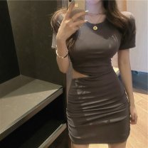 Dress Summer 2020 Grey black S M L Short skirt singleton  Short sleeve commute Crew neck High waist Solid color Socket A-line skirt routine Others 18-24 years old Type A Wallis Retro Hollowing out DHSZ88351 More than 95% other other Other 100% Pure e-commerce (online only)