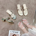 Sandals 35 36 37 38 39 40 Beige white green PU Barefoot Thick heel Middle heel (3-5cm) Summer 2020 Trochanter Korean version Solid color Adhesive shoes Youth (18-40 years old) rubber daily Back space Low Gang Lateral space PU PU Roman shoes Frosting Pure e-commerce (online only) Women's
