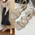 Sandals 35 36 37 38 39 Apricot Beige PU Mytisun / Mattel Shane Barefoot Thick heel Middle heel (3-5cm) Summer 2020 Flat buckle Korean version Solid color Adhesive shoes Youth (18-40 years old) rubber daily Back space Crisscross strap with thick buckle and Roman style Low Gang Lateral space PU PU