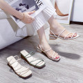 Sandals 35 36 37 38 39 40 Beige white green PU Mytisun / Mattel Shane Barefoot Thick heel Middle heel (3-5cm) Summer 2020 Trochanter Korean version Solid color Adhesive shoes Youth (18-40 years old) rubber daily Back space Roman style with thick and thin strips Low Gang Lateral space PU PU Frosting