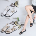 Sandals 35 36 37 38 39 Off white black white PU Mytisun / Mattel Shane Barefoot Flat bottom Low heel (1-3cm) Summer 2020 Trochanter Korean version Solid color Adhesive shoes Youth (18-40 years old) rubber daily Bag heel Roman style Low Gang Lateral space PU PU QS-A12 Roman shoes Frosting