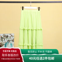 skirt Summer 2020 S,M,L,XL Pink, green Mid length dress Versatile Natural waist Pleated skirt Solid color 25-29 years old More than 95% polyester fiber