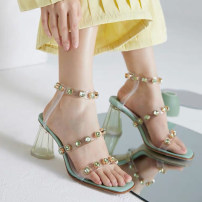 Sandals 33,34,35,36,37,38,39,40,41,42,43 Mint green, black nail, naked nail, red star, naked pink star, white star top layer leather Other / other Barefoot Thick heel High heel (5-8cm) Summer 2021 Flat buckle Sweet Solid color Adhesive shoes Youth (18-40 years old) rubber daily Back space Low Gang