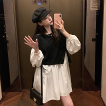 Dress Spring 2021 Picture color M L XL XXL 3XL Short skirt Fake two pieces Long sleeves commute Crew neck Loose waist Solid color A-line skirt other straps 18-24 years old Type A Kotaff Korean version KTFD179 More than 95% polyester fiber Polyester 100% Exclusive payment of tmall