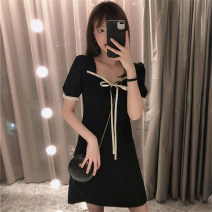 Dress Summer 2021 black M L XL Mid length dress singleton  Short sleeve commute square neck High waist other other other Petal sleeve straps 18-24 years old Type H Kotaff Korean version Bow and ruffle KTFD619 More than 95% polyester fiber Polyester 100% Pure e-commerce (online only)