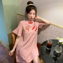 Dress Summer 2021 Picture color S M L XL XXL Mid length dress singleton  Short sleeve commute Polo collar Loose waist Cartoon animation Socket other other straps 18-24 years old Type A Kotaff Korean version Embroidery KTFD752 More than 95% polyester fiber Polyester 100% Pure e-commerce (online only)