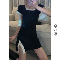 Dress Spring 2021 black Average size Short skirt singleton  Short sleeve Sweet square neck High waist Solid color Socket A-line skirt Lotus leaf sleeve Others 18-24 years old ZENPP More than 95% other Other 100% college Pure e-commerce (online only)