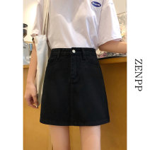skirt Summer 2020 S M L XL White black Short skirt commute High waist skirt Solid color Type A 18-24 years old 51% (inclusive) - 70% (inclusive) ZENPP cotton Korean version Cotton 60% polyester 35% polyurethane elastic fiber (spandex) 5% Exclusive payment of tmall