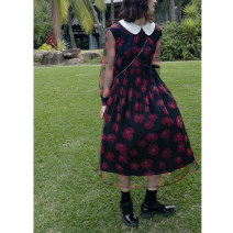 Dress Spring 2021 Black red short, black red long S,M,L Mid length dress singleton  Long sleeves Doll Collar Loose waist Decor routine 18-24 years old Type H Hello, canon Short h5143 long h5108
