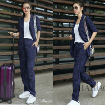 Fashion suit Spring of 2018 S M L XL royal blue 18-25 years old Yu Hanqing Polyester 80% other 20% Pure e-commerce (online only)